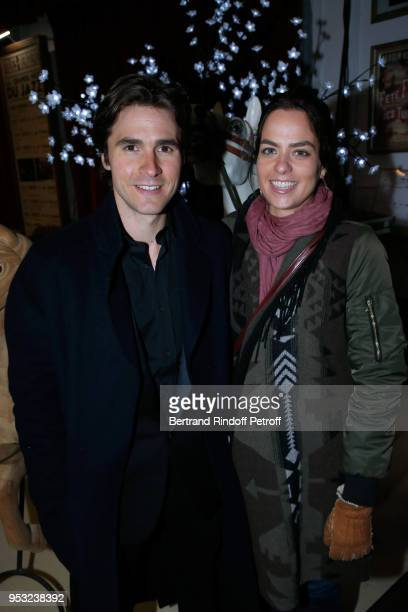 Actors Julien Dereins and Anouchka Delon attend the Dinner in honor of Nathalie Baye at La Chope des Puces on April 30 2018 in SaintOuen France