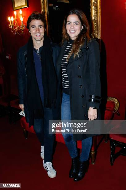 Actors Julien Dereins and Anouchka Delon attend the 'Ramses II' Theater Play at Theatre des Bouffes Parisiens on October 23 2017 in Paris France