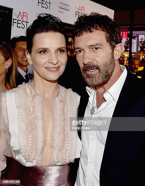 """Actors Juliette Binoche and Antonio Banderas attend the Centerpiece Gala Premiere of Alcon Entertainment's """"The 33"""" during AFI FEST 2015 presented by..."""