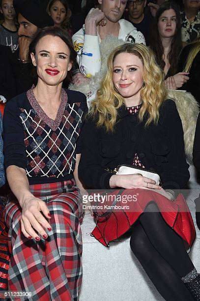 Actors Juliette Lewis and Natasha Lyonne attend the Marc Jacobs Fall 2016 fashion show during New York Fashion Week at Park Avenue Armory on February...