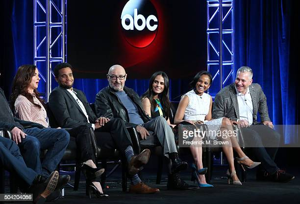 Actors Juliette Lewis Michael Ealy Terry O'Quinn Jordana Brewster Mekia Cox and executive producer Aaron Kaplan speak onstage during ABC's Secrets...