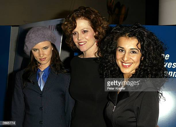 Actors Juliette Lewis Sigourney Weaver and Layla Alizada attend the Court TV premiere of Chasing Freedom January 13 2004 in New York City