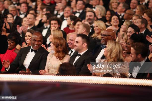 Actors Julius Tennon Emma Stone and Ryan Gosling attend the 89th Annual Academy Awards at Hollywood Highland Center on February 26 2017 in Hollywood...