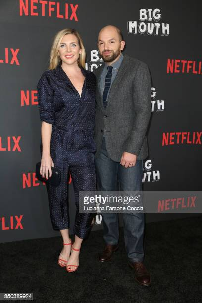 Actors June Diane Raphael and Paul Scheer attend the premiere of Netflix's Big Mouth at Break Room 86 on September 20 2017 in Los Angeles California