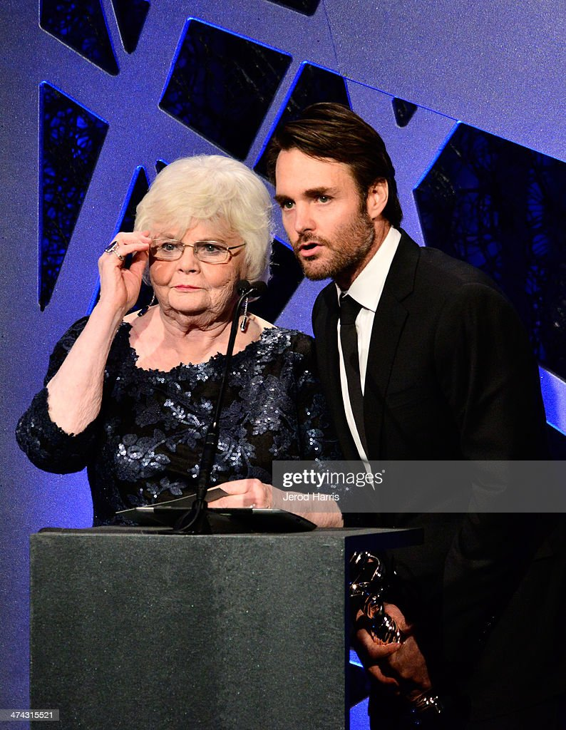 Actors June Squibb (L) and Will Forte speak onstage during the 16th Costume Designers Guild Awards with presenting sponsor Lacoste at The Beverly Hilton Hotel on February 22, 2014 in Beverly Hills, California.