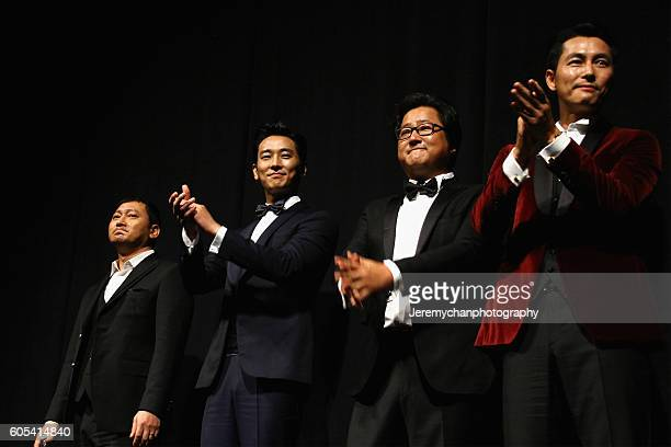 Actors Jung Mansik Ju Jihoon Do Won Kwak and Woosung Jung attend the Asura The City Of Madness premiere held at The Elgin during the Toronto...
