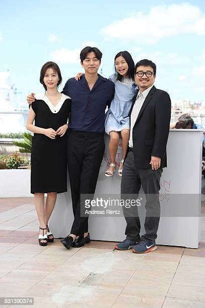 """Actors Jung Yu-mi, Gong Yoo, Kim Su-an and director Yeon Sang-ho attend the """"Train To Busan """" photocall during the 69th Annual Cannes Film Festival..."""