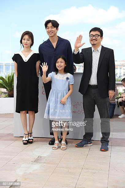 Actors Jung Yumi Gong Yoo Kim Suan and director Yeon Sangho attend the 'Train To Busan ' photocall during the 69th Annual Cannes Film Festival on May...