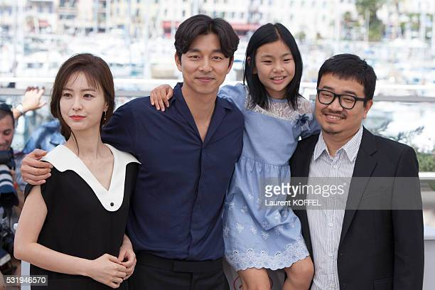 Actors Jung Yumi Gong Yoo Kim Suan and director Yeon Sangho attend the 'Train To Busan ' Photocall at the annual 69th Cannes Film Festival at the...