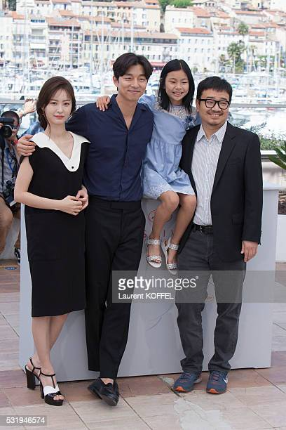 Actors Jung Yu-mi, Gong Yoo, Kim Su-an and director Yeon Sang-ho attend the 'Train To Busan ' Photocall at the annual 69th Cannes Film Festival at...