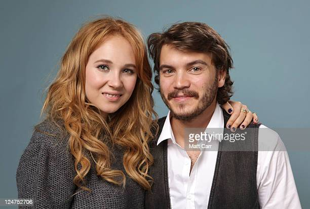 Actors Juno Temple and Emile Hirsch of 'Killer Joe' poses during the 2011 Toronto Film Festival at Guess Portrait Studio on September 12 2011 in...