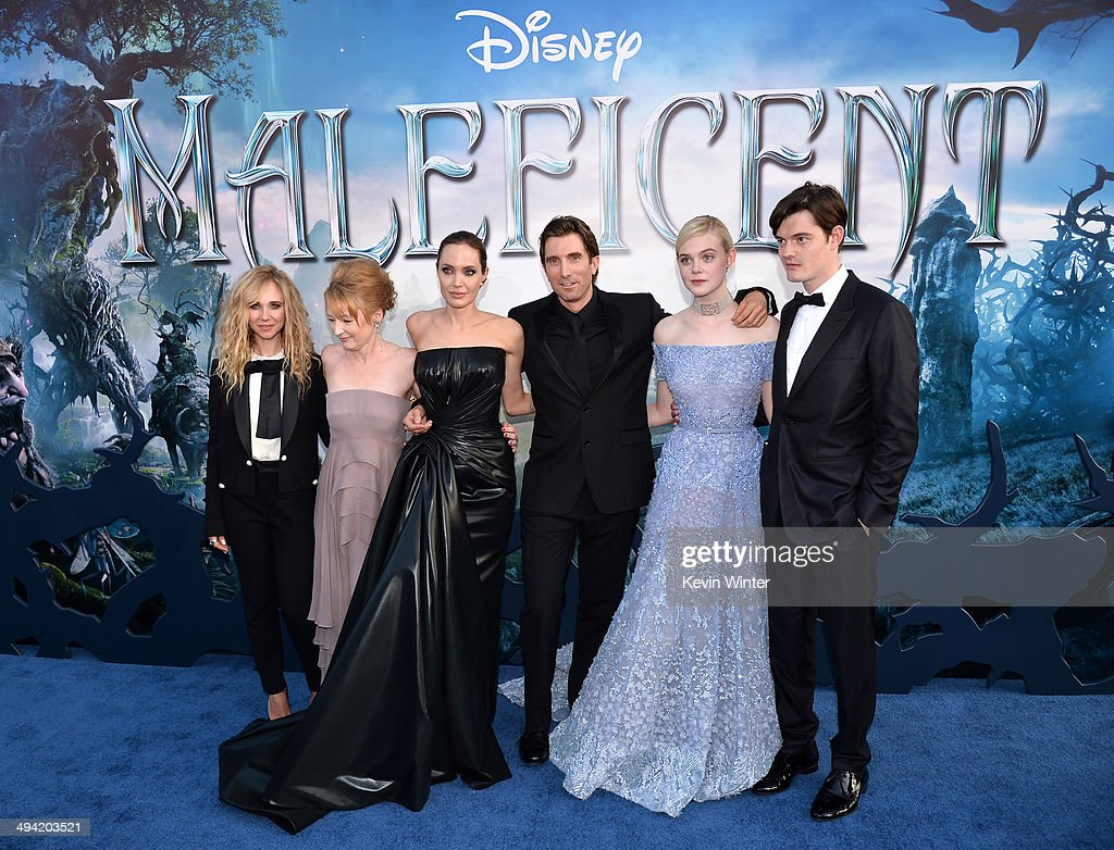 Actors Juno Temple, Lesley Manville, Angelina Jolie, Sharlto Copley, Elle Fanning and Sam Riley attend the World Premiere of Disney's 'Maleficent' at the El Capitan Theatre on May 28, 2014 in Hollywood, California.