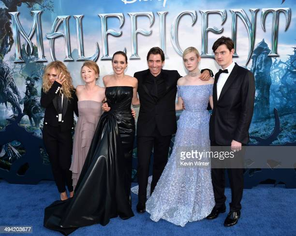 "Actors Juno Temple, Lesley Manville, Angelina Jolie, Sharlto Copley, Elle Fanning and Sam Riley attend the World Premiere of Disney's ""Maleficent"" at..."
