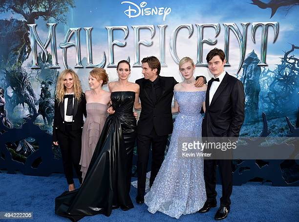 """Actors Juno Temple, Lesley Manville, Angelina Jolie, Sharlto Copley, Elle Fanning and Sam Riley attend the World Premiere of Disney's """"Maleficent"""" at..."""