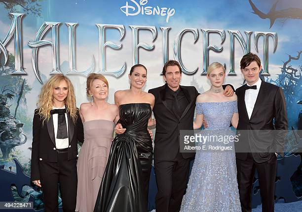 """Actors Juno Temple, Lesley Manville, Angelina Jolie, Sharlto Copley, Elle Fanning and Sam Riley attend the World Premiere of Disney's """"Maleficent"""",..."""