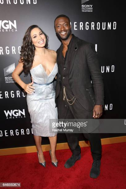 Actors Jurnee SmollettBell and actor Aldis Hodge attend WGN America's 'Underground' Season Two Premiere Screening at Regency Village Theatre on March...