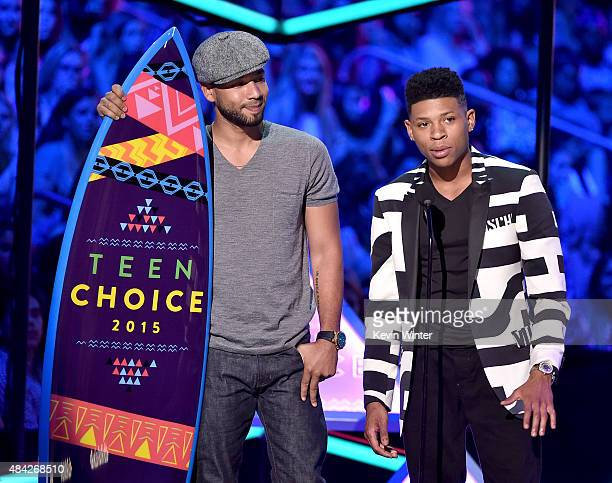 Actors Jussie Smollett and Bryshere 'Yazz' Gray accept the Choice TV Award for Breakout Show for Empire onstage during the Teen Choice Awards 2015 at...
