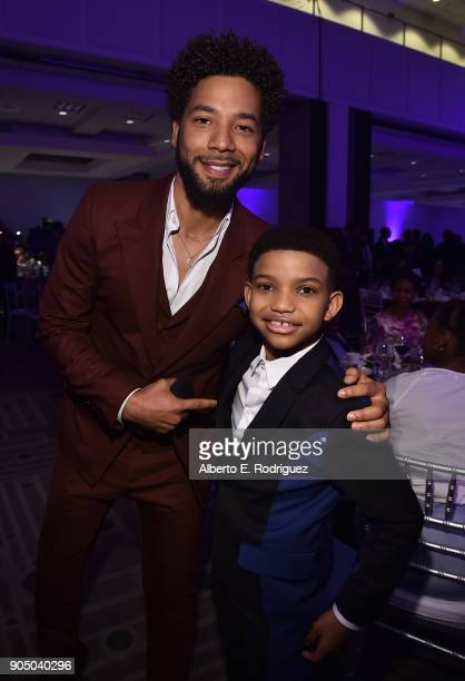 Actors Jussie Smollett and Lonnie Chavis attend the 49th NAACP Image Awards NonTelevised Award Show at The Pasadena Civic Auditorium on January 14...