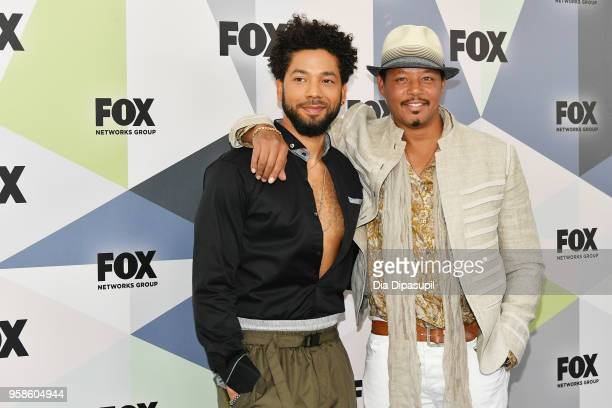 Actors Jussie Smollett and Terrence Howard attend the 2018 Fox Network Upfront at Wollman Rink Central Park on May 14 2018 in New York City