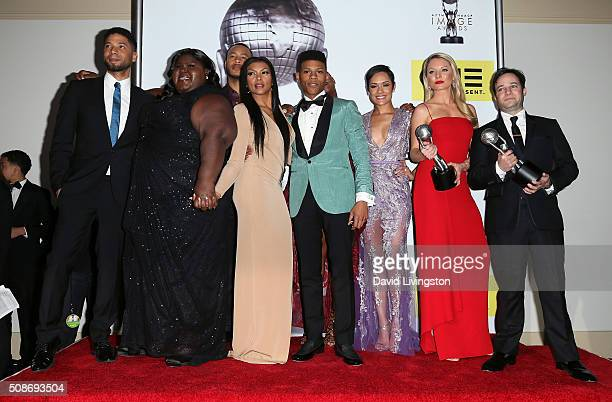 Actors Jussie Smollett Gabourey Sidibe Trai Byers Taraji P Henson Bryshere Y Gray aka Yazz Grace Gealey Kaitlin Doubleday and Danny Strong pose in...
