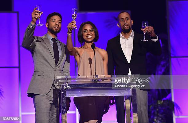 Actors Jussie Smollett Nischelle Turner and Affion Crockett attend the 47th NAACP Image Awards NonTelevised Awards Ceremony on February 4 2016 in...