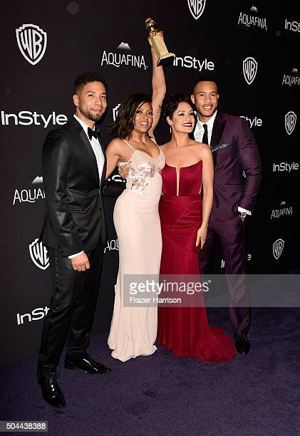 Actors Jussie Smollett Taraji P Henson winner of Best Performance in a Television Series Drama for 'Empire' Grace Gealey and Trai Byers attend...