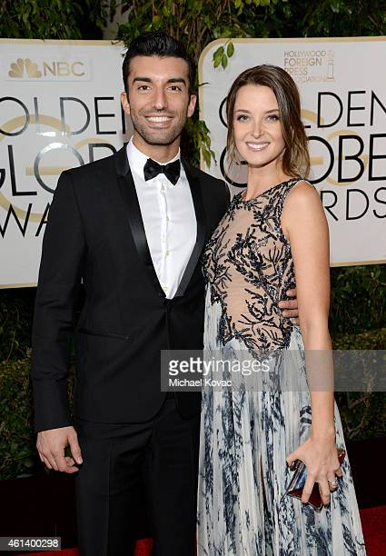 ActorS Justin Baldoni and Emily Baldoni attend The Weinstein Company's 2015 Golden Globe Awards After Party with Moet Chandon at The Beverly Hilton...