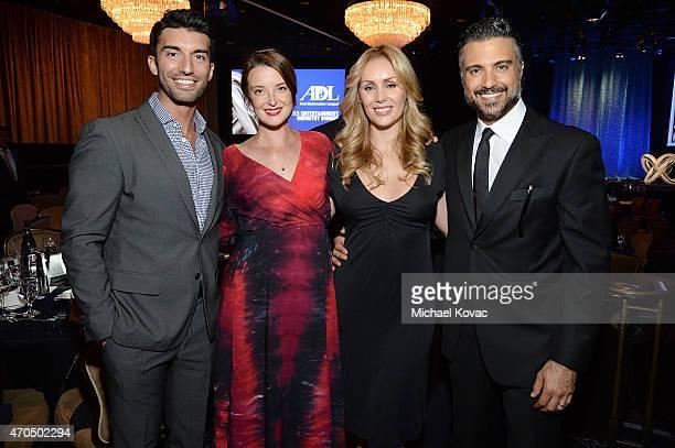 Actors Justin Baldoni Emily Baldoni Heidi Balvanera and Jaime Camil attend the AntiDefamation League's 2015 Entertainment Industry Dinner at The...