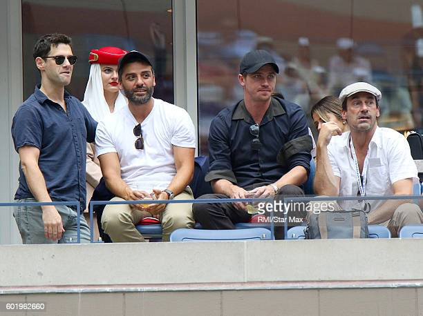 Actors Justin Bartha Oscar Isaac Garrett Hedlund and Jon Hamm seen on September 10 2016 at Day 12 of The US Open in Flushing Meadows New York