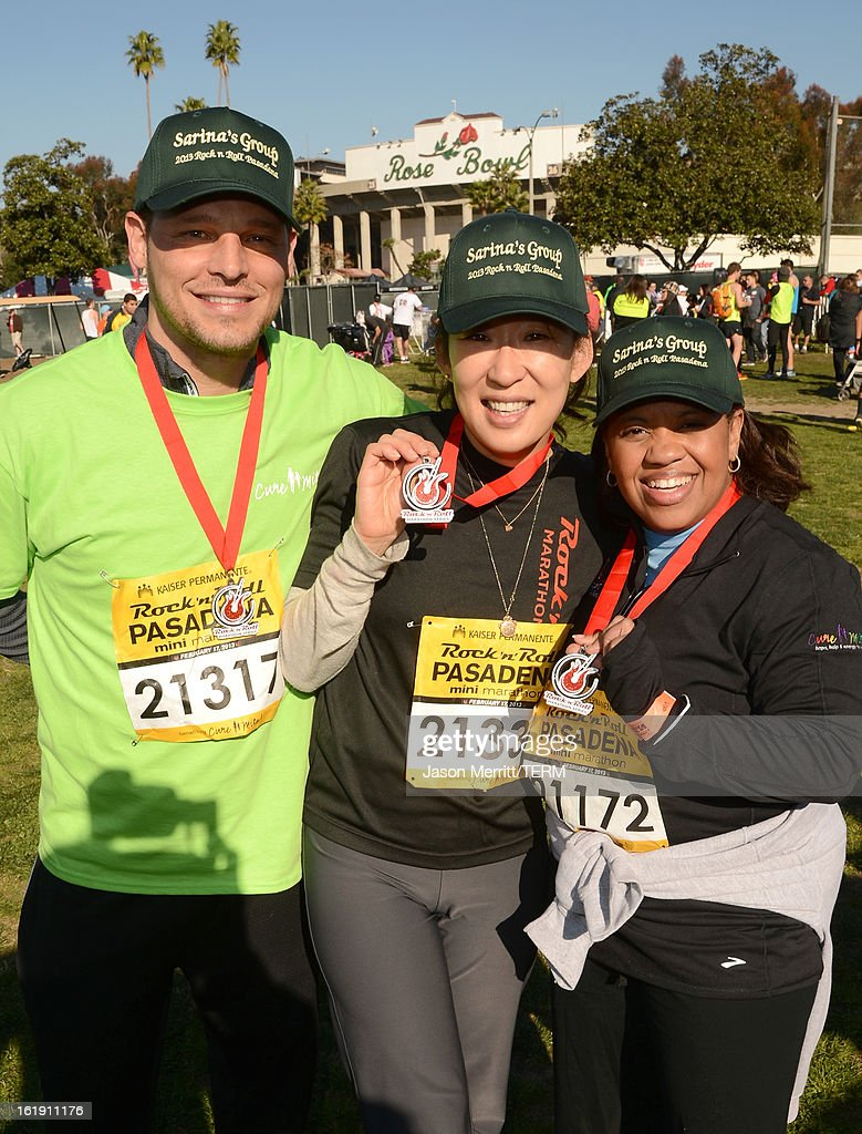 Actors Justin Chambers, Sandra Oh, and Chandra Wilson attend the Kaiser Permanente Rock 'n' Roll Half Marathon and Mini Marathon to benefit CureMito!at the Rose Bowl on February 17, 2013 in Pasadena, California.