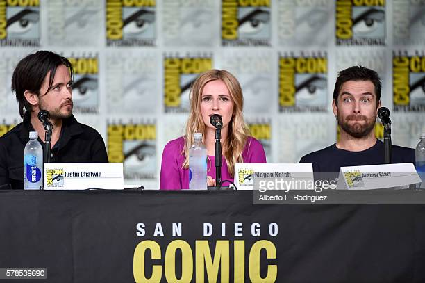 Actors Justin Chatwin Megan Ketch and Antony Starr attend CBS Television Studios Block including Scorpion American Gothic and MacGyver during...