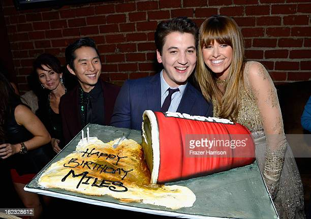 Actors Justin Chon Miles Teller and Sarah Wright attend Relativity Media's 21 and Over premiere after party at Westwood Brewing Co on February 21...
