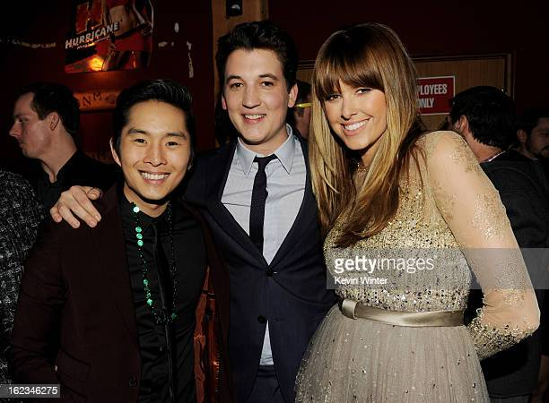 Actors Justin Chon Miles Teller and Sarah Wright pose at the after party for the premiere of Relativity Media's 21 And Over at the Westwood Brewery...