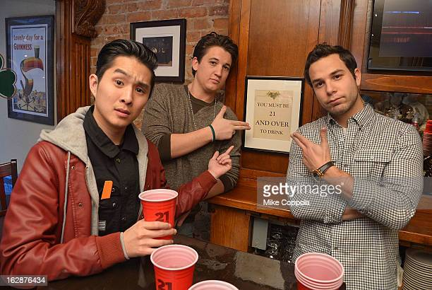 Actors Justin Chon Miles Teller and Skylar Astin attend the 21 Over Press Call at Playwrights Tavern on February 28 2013 in New York City