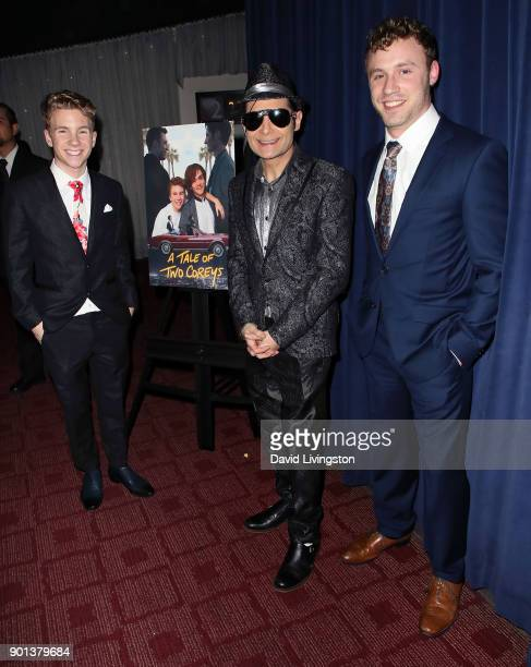 Actors Justin Ellings Corey Feldman and Casey Leach attend a screening of 'A Tale of Two Coreys' at ArcLight Sherman Oaks on January 4 2018 in...
