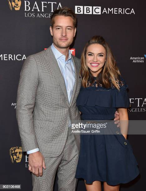 Actors Justin Hartley and Chrishell Stause arrive at The BAFTA Los Angeles Tea Party at Four Seasons Hotel Los Angeles at Beverly Hills on January 6...