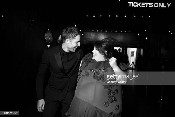 Actors Justin Hartley and Chrissy Metz celebrate backstage during the 24th Annual Screen Actors Guild Awards at The Shrine Auditorium on January 21...