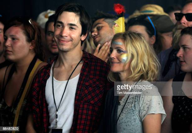 Actors Justin Long and Drew Barrymore attend the Bon Iver performance at Day Three of the 2009 Bonnaroo Music and Arts Festival on June 13 2009 in...