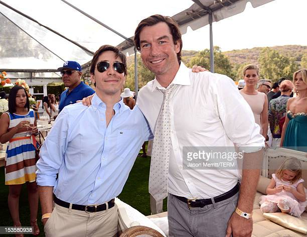 Actors Justin Long and Jerry O'Connell attend the Third Annual Veuve Clicquot Polo Classic at Will Rogers State Historic Park on October 6 2012 in...