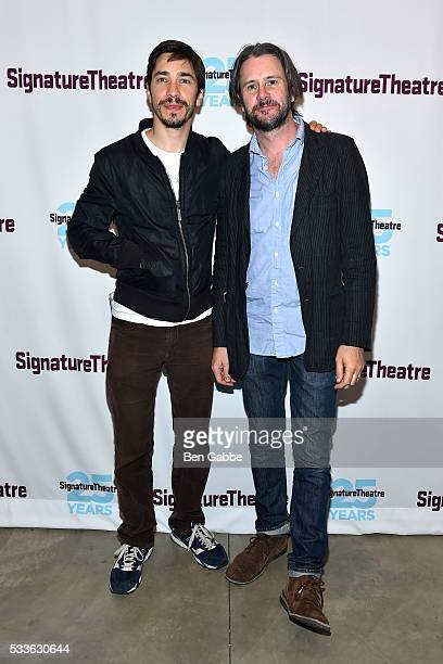 Actors Justin Long and Josh Hamilton attend Signature Plays opening night at Signature Theatre Company Pershing Square Signature Center on May 22...