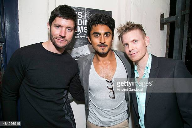 Actors Justin Schwan Gopal Divan and director Hunter Lee Hughes attend the Guys Reading Poems fundraiser at V Wine Bar on April 11 2014 in West...