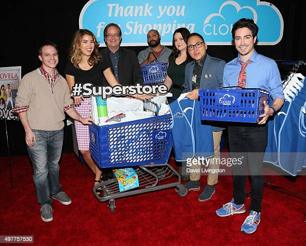 Actors Justin Spitzer Nichole Bloom Mark McKinney Colton Dunn Lauren Ash Nico Santos and Ben Feldman attend the NBC Comedy Press Junket for...