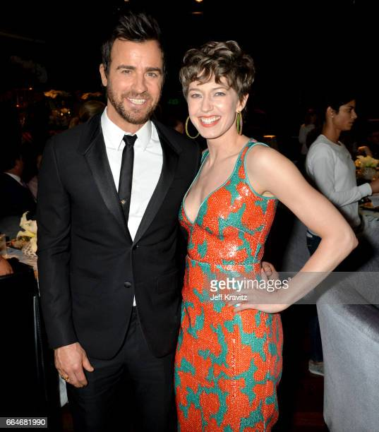 Actors Justin Theroux and Carrie Coon attend HBO's The Leftovers season 3 premiere and after party at Avalon Hollywood on April 4 2017 in Los Angeles...