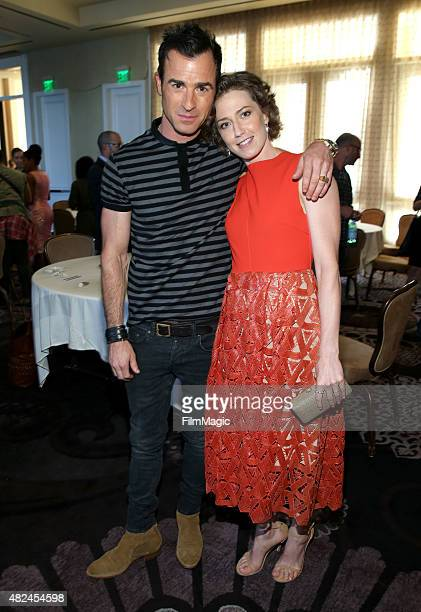Actors Justin Theroux and Carrie Coon attend the HBO portion of the 2015 Summer TCA Tour at The Beverly Hilton Hotel on July 30 2015 in Beverly Hills...
