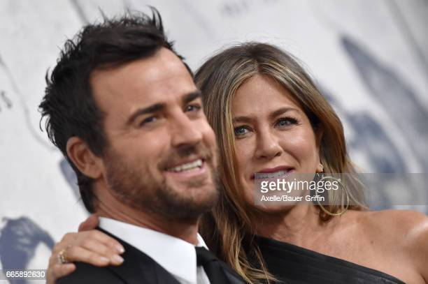 Actors Justin Theroux and Jennifer Aniston arrive at the Season 3 Premiere of 'The Leftovers' at Avalon Hollywood on April 4 2017 in Los Angeles...