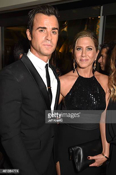 Actors Justin Theroux and Jennifer Aniston attend HBO's Official Golden Globe Awards After Party at The Beverly Hilton Hotel on January 11, 2015 in...