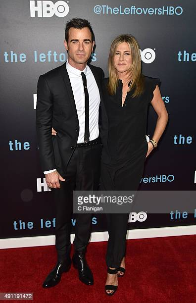 Actors Justin Theroux and Jennifer Aniston attend HBO's The Leftovers season 2 premiere at Paramount Theatre on October 3 2015 in Austin Texas