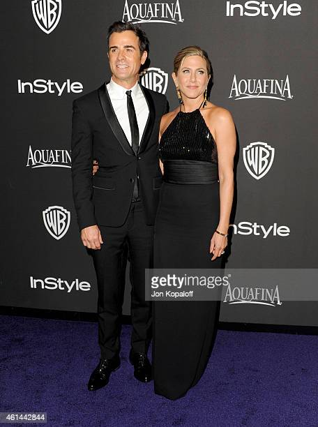 Actors Justin Theroux and Jennifer Aniston attend the 16th Annual Warner Bros and InStyle PostGolden Globe Party at The Beverly Hilton Hotel on...