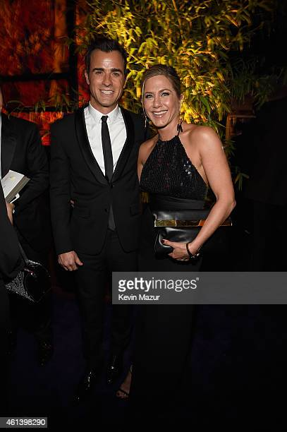 Actors Justin Theroux and Jennifer Aniston attend the 2015 InStyle And Warner Bros 72nd Annual Golden Globe Awards PostParty at The Beverly Hilton...