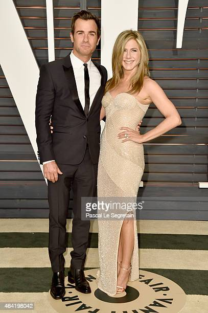 Actors Justin Theroux and Jennifer Aniston attend the 2015 Vanity Fair Oscar Party hosted by Graydon Carter at Wallis Annenberg Center for the...
